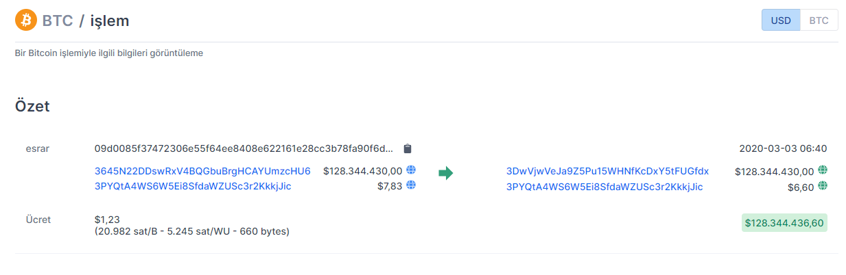 130 milyon dolarlık bitcoin işlemi