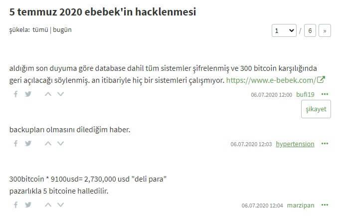 E-bebek'i Hackleyenler 300 Bitcoin Fidye İstiyorlar! 2 - Screenshot 1 1